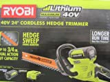 Ryobi 40-Volt Cordless Hedge Trimmer 24' includes Lithium-Ion Battery plus Charger