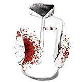 Halloween Costume Women Men Scary Skeleton Blood 3D Print Hoodie Sweatshirt Top(C,S/M)