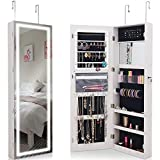 ANGELA Jewelry Mirror Cabinet, Wall Mount Lockable, with Touch Screen Light, Inside Makeup Mirrored, for Storageing Ornaments, Cosmetic, 47.215.84.8''