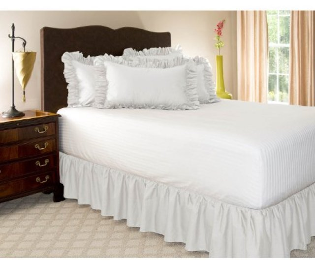 Amazon Com Shop Bedding Ruffled Bed Skirt Queen White 14 Inch Drop Dust Ruffle With Platform Wrinkle And Fade Resistant By Harmony Lane Available In