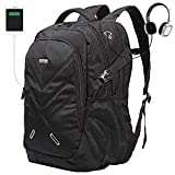 Backpack for Laptops Up to 18.4 Inch Hiking Backpack Water Resistant Travel Computer Backpack Shockproof Laptop Backpack with USB Charging Port and Waterproof Rain Cover (Black)