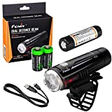 EdisonBright Fenix BC21R 880 Lumen Dual Distance Beam Cree XM-L2 T6 LED USB Rechargeable Bike Bicycle Light, Rechargeable Battery with 2 X CR123 Batteries Bundle