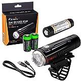 EdisonBright Fenix BC21R 880 Lumen Dual Distance Beam Cree XM-L2 T6 LED USB Rechargeable Bike Bicycle Light, Rechargeable Battery with 2 X CR123 Batteries Bundle