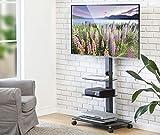 FITUEYES Trolley TV Stand fit 32''-65 inch Floor Swivel Bracket with 3 Tier AV Shelf Display for Living Room Bedroom Office TT306503GB