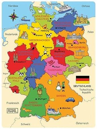 Bartl 101818 Deutschland Karte Holzpuzzle Bundesländer Hauptstädte Landkreise