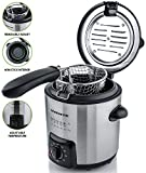 Ovente FDM1091BR Mini Deep Fryer with Removable Basket, Stainless Steel, Adjustable Temperature Control, Non-Stick Interior, Personal Size, Brushed Nickel