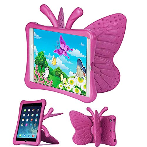 iPad Mini Case for Girls, Butterfly Shape Shock proof Kid-proof Durable EVA Foam Super Protection Tablet Case Cover for Apple iPad mini 1/2/3/4 - Hot Pink