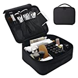 Lmeison Traveling Makeup Bag Toiletry Bag for Women, 9.6'' Portable Cosmetic Bag with Adjustable Dividers, for Cosmetics, Makeup Brush Set, Jewelry, Toiletry and Traveling Accessories