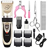 CAHTUOO Dog Grooming Clippers, Professional Pet Grooming Kit Rechargeable Pet Shaver Cordless Silent Dog Hair Trimmer with 4 Comb Attachments & 4 Extra Tools for Dogs Cats and Pets