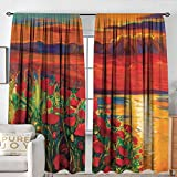 NUOMANAN Customized Curtains Flower,Oil Painting View Stone Stairs in The Greek Garden Greenery Forest Picture,Orange Red Green,Wide Blackout Curtains, Keep Warm Draperies, Set of 2 84'x84'