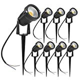 ZUCKEO 5W LED Landscape Lights 12V 24V Garden Lights Waterproof Warm White Walls Trees Flags Outdoor Spotlights with Spike Stand (8 Pack)
