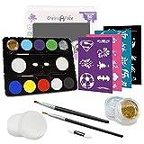 Face Painting Kit + 32 Stencils (Paints 50-80 Faces) Body Makeup, Non-Toxic Paint - Vibrant Colors, Done-For-You Stencils, Shimmering Glitter Gels, Versatile Brushes, Sponges, Applicators