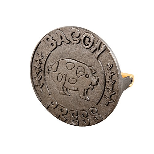 HIC Bacon Press and Steak Weight, Heavyweight Cast Iron with Wooden Handle, For Grill Panini Burgers Bacon and Sausage
