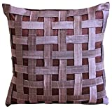 Designer Purple Throw Pillows Cover, Textured Basket Weave Throw Pillows Cover, 20x20 inch (50x50 cm) Pillow Covers, Checkered Contemporary Throw Pillows Cover, Silk - Purple N Plum Basket Weave