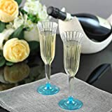 Efavormart 60 Pcs Disposable Clear Plastic Champagne Flutes for Wedding Birthday Party Banquet Events Cocktail Cups - Blue