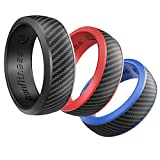 Silicone Wedding Ring for Men and Women - 3 Pack Comfortable Fit, Skin Safe, Non-toxic, Antibacterial Rubber Wedding Ring by Ikonfitness - Black, Blue, Red - Come with a Metal Box