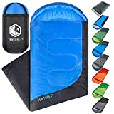 Summer Sleeping Bag, Single, Regular Size - Lightweight, Comfortable, Water Resistant Backpacking Sleeping Bag for Adults & Kids - Ideal for Hiking, Camping & Outdoor Adventures - Blue / Gray