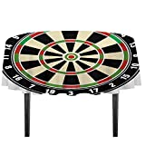 Sports Washable Tablecloth Dart Board Numbers Sports Accuracy Precision Target Leisure Time Graphic Dinner Picnic Home Decor D51.18 Inch Vermilion Green Black