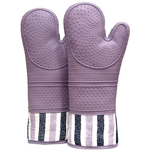 RED LMLDETA Heat Resistant 550 Degree Oven mitt, Silicone Oven Hot Mitts - 1 Pair, Extra Long Professional Baking Oven Gloves - Food Safe,Pot Holders Cooking,Grilling,Kitchen (Purple)