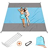 FYLINA Sand Free Beach Blanket Quick Drying Ripstop Nylon Compact Outdoor Picnic Beach Mat Size 7'x9' with 4 Weightable Pockets + 4 Anchor Stakes