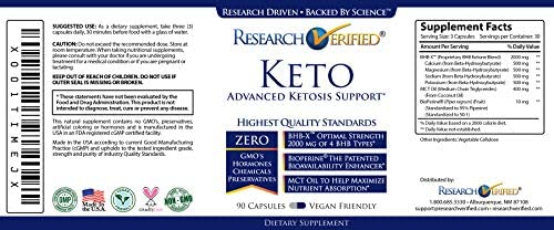 Research Verified Keto - Vegan Keto Supplement with 4 Exogenous Ketone Salts (Calcium, Sodium, Magnesium and Potassium) and MCT Oil to Boost Energy, Weight Loss and Focus in Ketosis - 1 Bottle 8