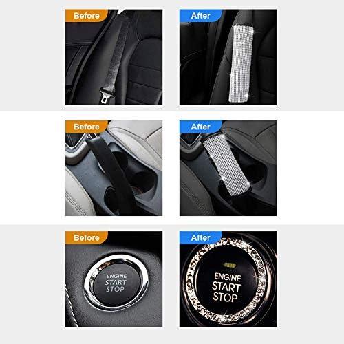 Valleycomfy Microfiber Leather Seat Belt Shoulder Pads with Bling Rhinestones Car Bling Seat Belt Covers for Women, Crystal Handbrake Cover, Bling Ring Set Bling Car Accessories 4 Pack Set Universal 14