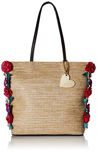 51LrklWdzIL Made of straw material with a faux leather handle and bottom Shoulder bag secured by a magnetic snap closure deetailed with a Betsey Johnson charm and flower apliques