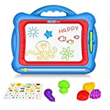 Geekper Magnetic Drawing Board, 15.75' Erasable Colorful Magna Doodle Toys Writing Sketching Pad Set with 5 Shape Stamps & Lovely Sticker ( Blue )