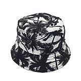 Product review of Newsilk Store Bucket Hats for Women Dual-use Flat Top Bucket Hat Fisherman Hat with Coconut Tree Pattern Summer Outdoor Travel Sun Cap Fishing Headgear Wide Rim Headwear