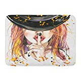 YGUII Doormats Bath Rugs Outdoor/Indoor Door Mat Orange Girl Halloween Witch Watercolor Party Fall Magic Mystery Hell Bathroom Decor Rug 16X23.6in (40x60cm)