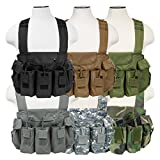 Tactical AK Chest Rig Magazine Pouches Vest Utility Pouches Adjustable MOLLE (Black)
