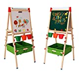 Arkmiido Kids Easel with Paper Roll Double-Sided Whiteboard & Chalkboard Standing Easel with Bonus Magnetics, Numbers and Other Accessories for Kids and Tollders (with Paper roll)