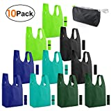 Reusable-Grocery-Bags-Shopping-Foldable-Bags for Groceries 10 Pack Foldable Bags with Elastic Zipper Bags Cloth Gift Bags Washable Lightweight Sturdy Moss Teal Green Black Navy