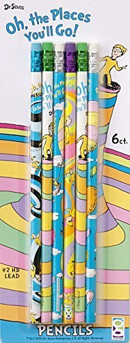 Dr. Seuss 6pk Pencils Back to School Oh, the Places You'll Go!!! by Raymond Geddes