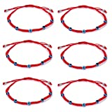 6pcs Evil Eye String Kabbalah Bracelets for Protection and Luck Hand-Woven Red Rope Cord Thread Friendship Bracelet Anklet (6pcs-5 Eye)