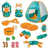 18 PCs Kids Play Tent, Pop Up Tent with Kids Camping Gear Set, Outdoor Toys Camping Tools Set for Kids