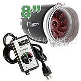 8' inch Vortex S Line S-800 Power Fan 728 CFM by Atmosphere + VenTech Variable Fan Speed Controller