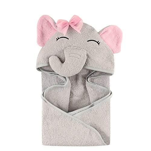Hudson Baby Unisex Baby Animal Face Hooded Towel, Pretty Elephant 1-Pack, One Size