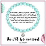 SOLINFOR Coworker Leaving Gifts for Women - Amazonite Beads Farewell Bracelet - Retirement Moving Away Goodbye New Job Good Luck Jewelry Gift Idea for Her Friends Boss