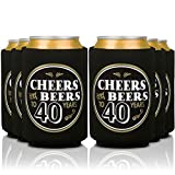 Birthday Coozies - Cheers and Beers to 40 Years | 40th Birthday Party Gifts for Men - Decorations for Retirement Anniversary Favor | Can Insulating Sleeve Cooler Covers | Insulated Beer Bottle Holder
