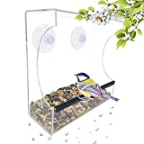 Gray Bunny GB-6895 Clear Window Bird Feeder, Compact Wild Birdfeeder with Drain Holes,Super Strong Suction Cups, Transparent Viewing, Covered, High Seed Capacity, Rubber Perch
