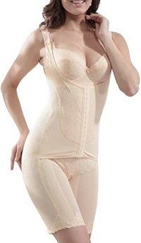 Burvogue Body Shaper, Women Zipper Firm Control Shapewear Bodysuit (L(US Size 6), Black1)