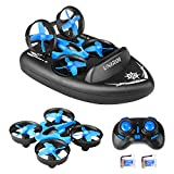 UNIROI 3 in 1 Mini RC Drone Support Remote Control Car/Boat/Quadcopter Mode with 360° Flips Stunt One Key Return Headless Mode and 2 Speed Modes for Kids Toys Gifts (USB Charging) H36F