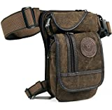 Hebetag Canvas Thigh Drop Leg Bag for Men Tactical Military Motorcycle Rider Multi-pocket Waist Fanny Pack Mens Travel Hiking Climbing Cycling Outdoors Coffee
