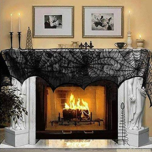 Hecentur Halloween Decoration Black Lace Spiderweb Fireplace Mantle Scarf Cover Festive Party Supplies 45 X 243cm 18 x 96 inch