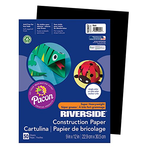 "Pacon PAC103607 Riverside 3D Construction Paper, 9"" x 12"", Black, 50 Sheets"