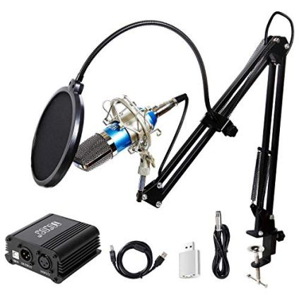 TONOR-Pro-Condenser-Microphone-XLR-to-35mm-Podcasting-Studio-Recording-Condenser-Microphone-Kit-Computer-Mics-with-48V-Phantom-Power-Supply