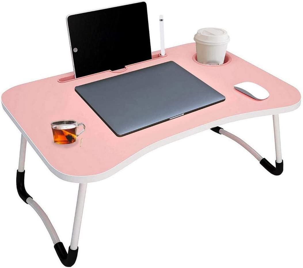 COLLABRAINS ENTERPRISE Smart Multi-Purpose Laptop Table with Dock Stand/Study Table/Bed Table/Foldable and Portable/Ergonomic & Rounded Edges/Non-Slip Legs (LIGHT PINK)