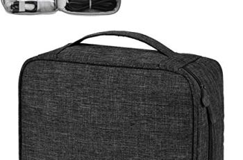 House of Quirk Electronics Accessories Organizer Bag, Universal Carry Travel Gadget Bag for Cables, Plug and More, Perfect Size Fits for Pad Phone Charger Hard Disk – Black