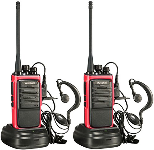 Arcshell Rechargeable Long Range Two-Way Radios with Earpiece 2 Pack Walkie Talkies UHF 400-470Mhz Li-ion Battery and Charger Included